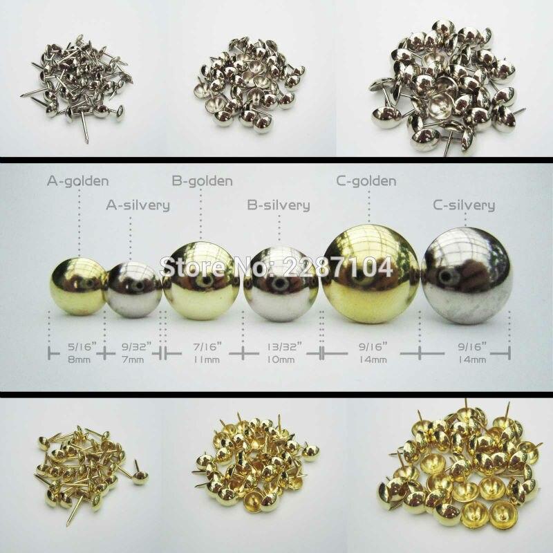 Estofado dourado prateado para unhas, 50 peças, joias, caixa, mobília, porta de parede, sofá, decoração tack, cabeça grande porta de unhas