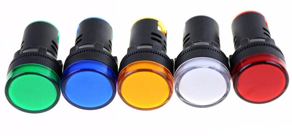 Indicateur lumineux 12V 24V 110V 220V   1 pièce, rouge/vert/Huang/bleu/blanc