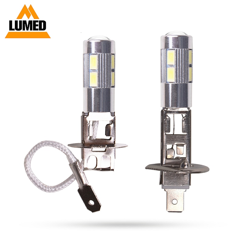 Carro h1 h3 conduziu a luz de nevoeiro lâmpadas produtos automóveis lâmpada condução 10 smd 5630 acessórios led drl lente automática