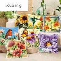 latch hook rug canvas pillowcase knooppakket knoopkussen pakket craft cushion hook embroidery pillow flower knitting rug kits