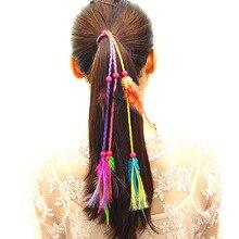 Perruque de cheveux en plumes tissée à la main   Accessoires pour cheveux style bohémien, bande de cheveux nationale wind, mode