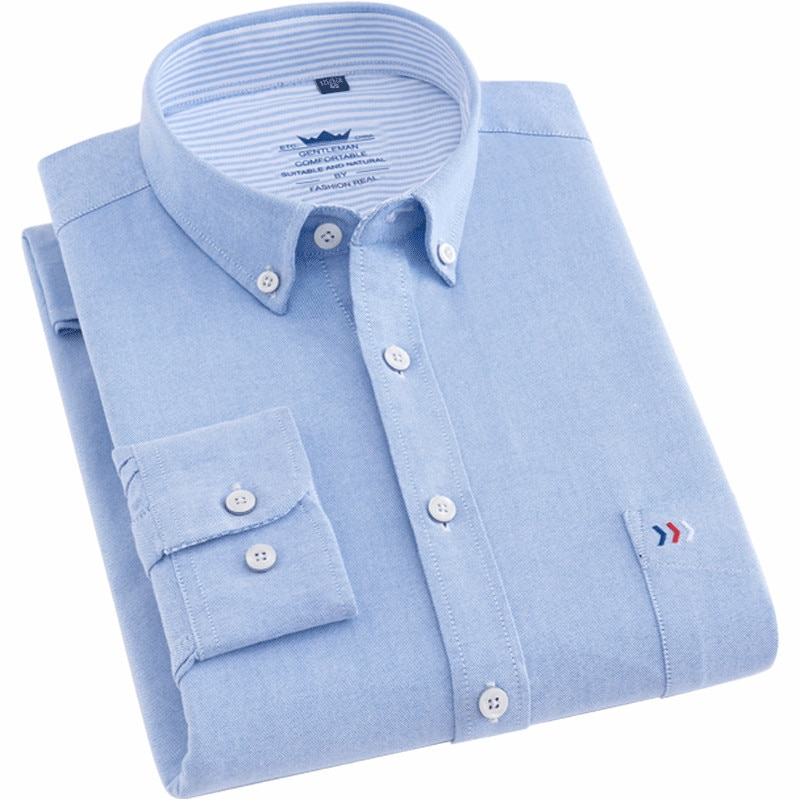 Camisa de hombre de algodón de manga larga de corte regular Oxford de negocios casual camisas para hombres con bolsillo frontal de moda 2020 de buena calidad