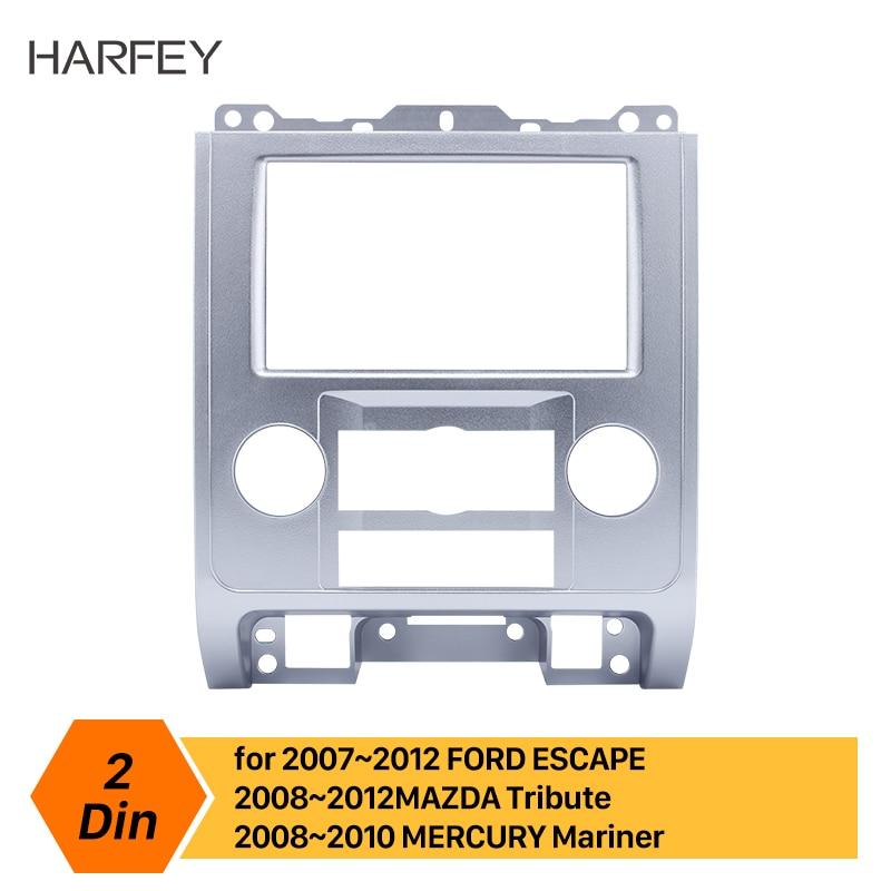 Harfey painel de rádio do carro auto fascia 2din quadro para ford escape mazda tribute mercúrio mariner 2007 2008 2009 2010 2011 2012 prata