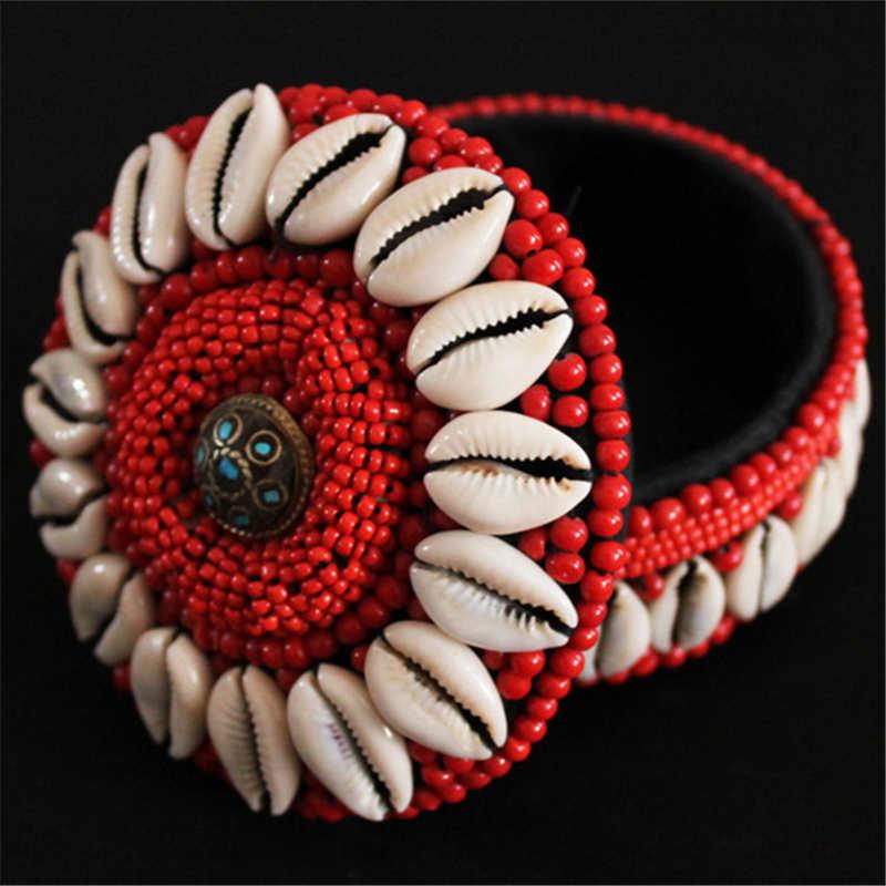 TJB953 tibetano cosido completamente a mano blanco joyas de concha caja grandes, medios tamaños pequeños ronda tienda caso