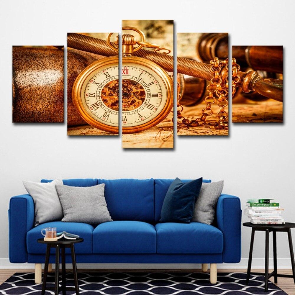 Cuadros de lona para el hogar Decoración HD impresiones 5 piezas reloj espacial Vintage pinturas Retro carteles para el marco de arte de la pared de la sala de estar