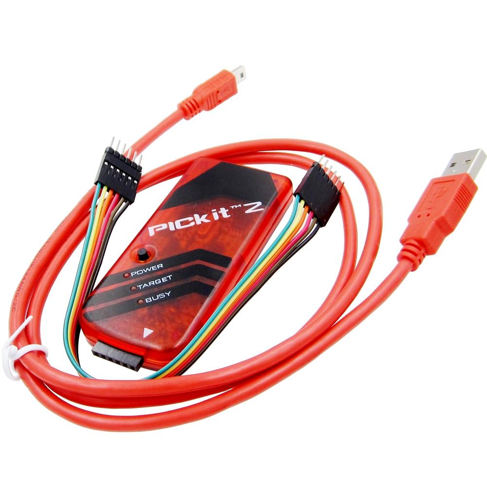 PICKIT2 foto Kit2 Simulador de emulador programador PICKit 2 Color rojo w/cable USB Dupond Wire