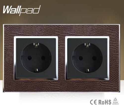 Wallpad lujo doble 16 Amp Enchufe europeo cabras marrón cuero 220V 146*86mm 16A enchufe de pared de la Unión Europea envío gratis