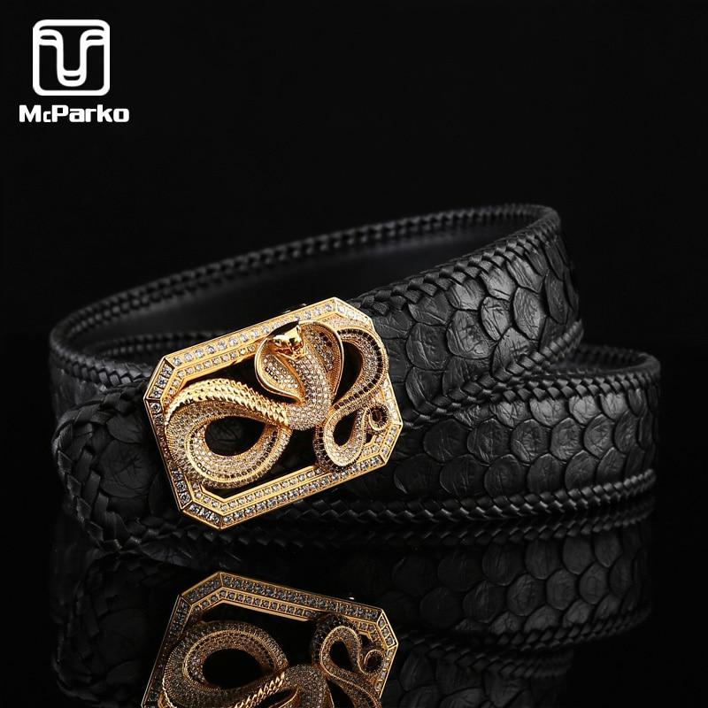 McParko Snakeskin Belt Men Genuine Leather Belt Real Snake Skin Luxury Design Woven Python Leather Waist Belts For Men Black New