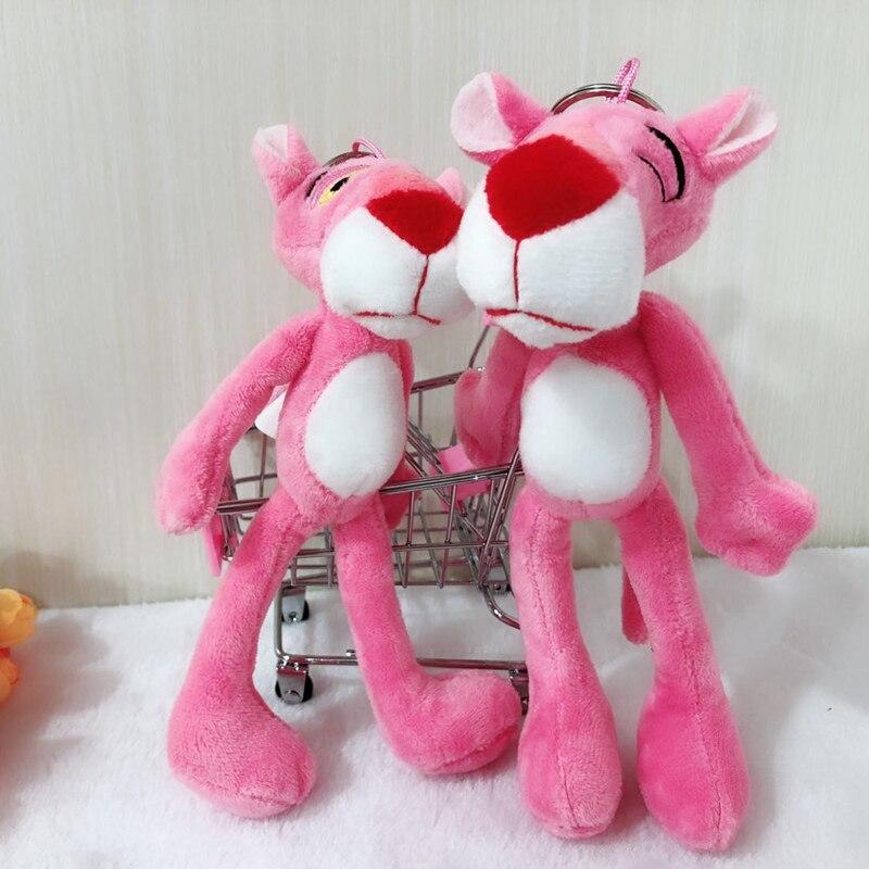 Lindo colgante de 20cm Pantera Rosa muñecas de felpa Leopardo de dibujos animados juguete llavero de peluche colgante bolsa para niñas niños regalos