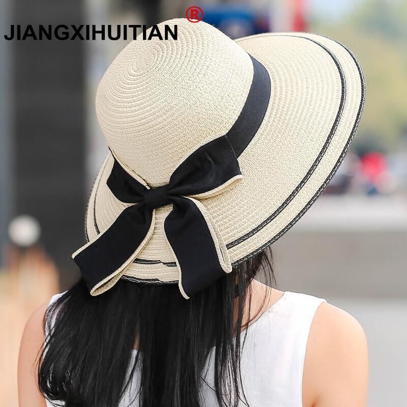 Sun Hat Big Black Bow Summer Hats For Women Foldable Straw Beach Panama Hat Visor Wide Brim Femme Female 2018 New