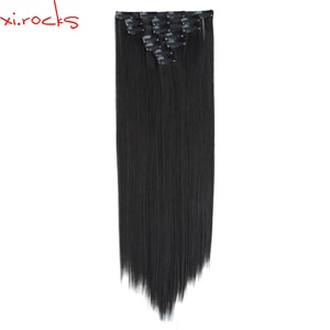 qjz13055/2set Xi.rocks Synthetic Clip in Hair 7pcs set Extensions wig 55cm Straight Hairpiece Clips wigs Extension Black 1BJ