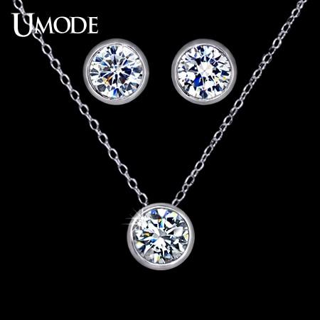 UMODE, conjunto de joyería para mujer con 1 par de pequeños pendientes de tuerca bonitos y 1 collar con colgante de cadena de piedra CZ de Color oro blanco US0026