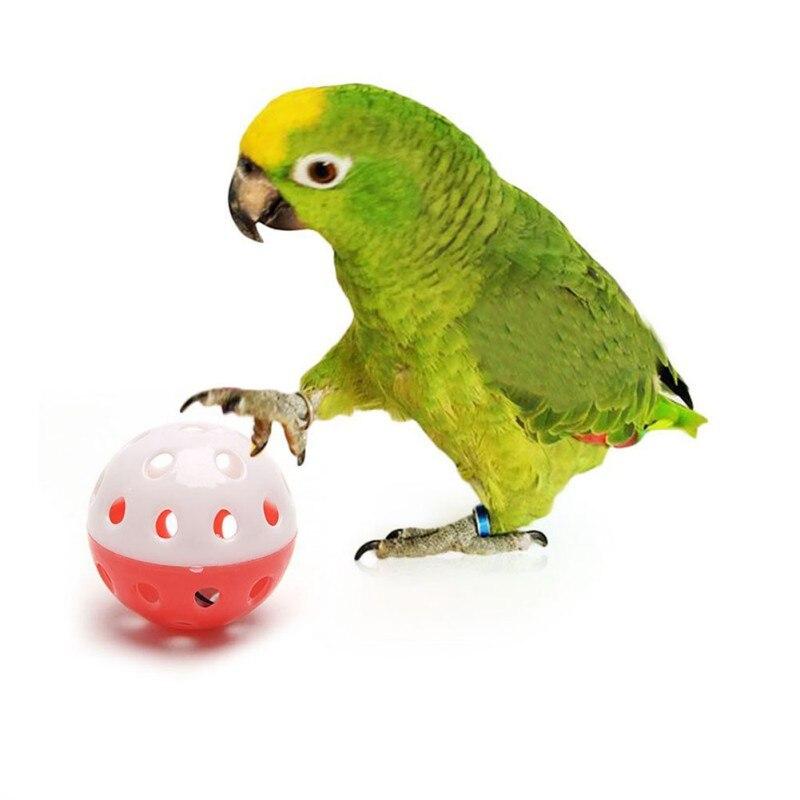 1pc divertido loro juguetes bola hueca con campana para periquito Cockatiel pájaro masticar juguetes de juguete accesorios Color al azar