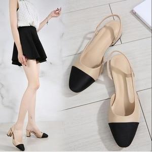 RUSHIMAN Women's Sandals Women Mixed Colors Back Strap Summer Shoes Woman Thick Heels Sandals Footwear Plus size 34-41