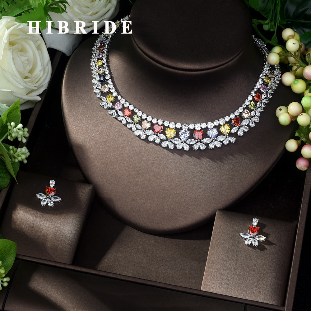 HIBRIDE, conjunto de joyería de boda de Zirconia multicolor de alta calidad, collar de novia con forma de corazón y conjunto de pendientes, joyería N-1037