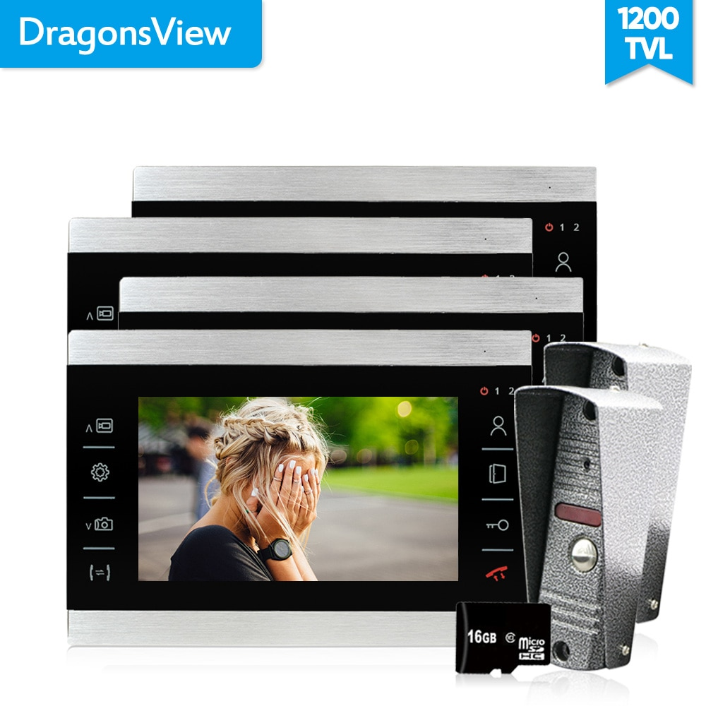 Dragonsview 7 Inch Video Doorbell Intercom Door Phone System 1200TVL Electronic Doorman with Camera Waterproof Metal Panel 16GB