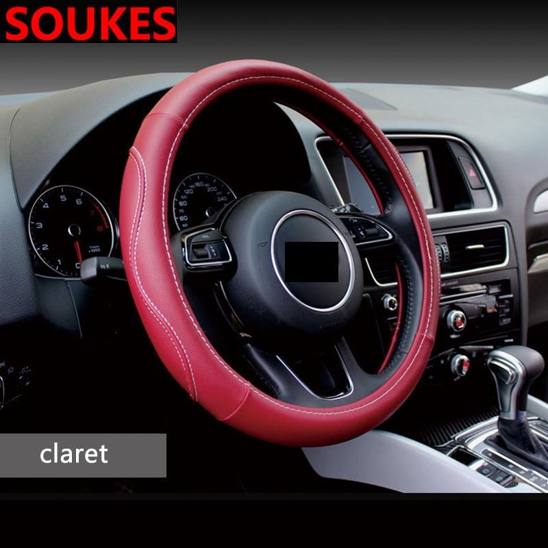 38 CENTÍMETROS de Couro Para Renault Megane 2 3 Duster VW Touran Passat B6 7 T5 T4 Fiat 500 Carro de Golfe estilo de Direção Tampa do Cubo Da Roda