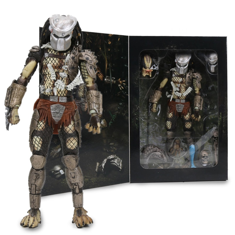"7,8 ""NECA Predator final 30th aniversario selva Hunter PVC figura de acción de la selva Hunter desenmascarado muñeca coleccionable en miniatura Juguetes"