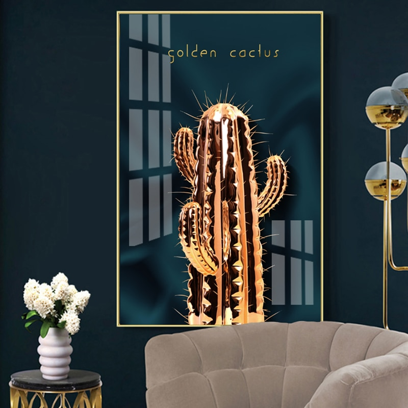 Impresión y póster de Cactus dorados lienzo de pared obarazy cuadro de Arte de planta cartel Arte impermeable tinta lienzo pintura Mural de mesa