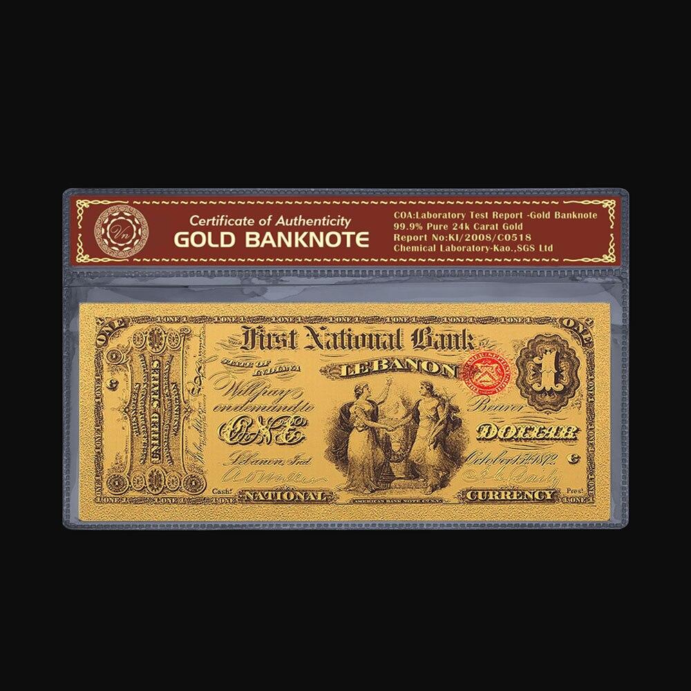 Billets cartes or 24k faux argent plaqué   Billets colorés, faux argent, 1875 ans 1 dollar, feuille daluminium, Collections de papier monnaie, artisanat cadeau
