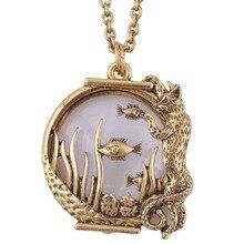 Ожерелье с подвеской в виде рыбы, в виде животных, стиль увеличительное стекло, стекло, Ювелирное Украшение из антикварного золота с магнитной застежкой