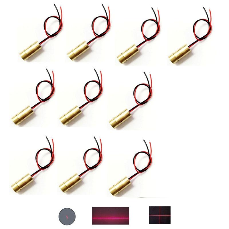 Lote 10 pces diy cobre dc 3 v 3.5 mw 9mm diâmetro 650nm ponto vermelho/linha vermelha/vermelho cruz ponto laser módulo ajustável lazer