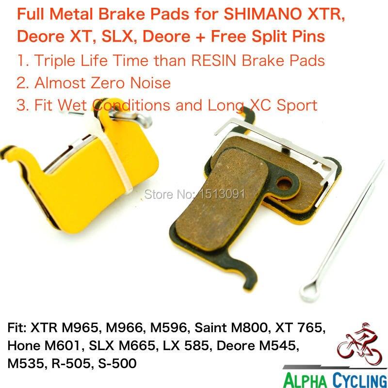 Full Metal Disco Pastilhas de Freio para Shimano M965, M966, M975, são M800, Deore XT M765, M775, M776, SLX M665, LX 585, 2 Pairs + 2 PINOS