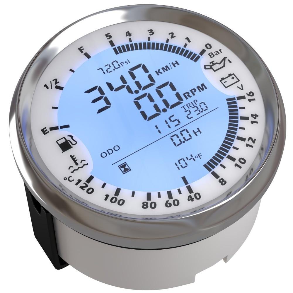 Universal 85mm 6 in 1 Multi-functional Auto Gauges GPS Speedometer Tachometer Fuel Level Water Voltmeter Temp Oil Pressure 5Bar