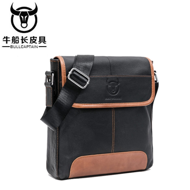 BULLCAPTAIN 2018 Fashion Men Genuing Leather Crossbody Bags Brand Casual Large Capacity Messenger Ba