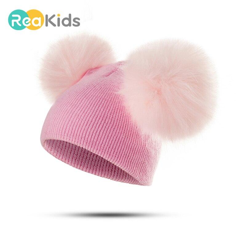 Детская шапка с двойным помпоном реакids, детская зимняя шапка для девочек и мальчиков, детская теплая шапка, шапочки, Детская вязаная хлопковая шапка унисекс Шапки и кепки      АлиЭкспресс