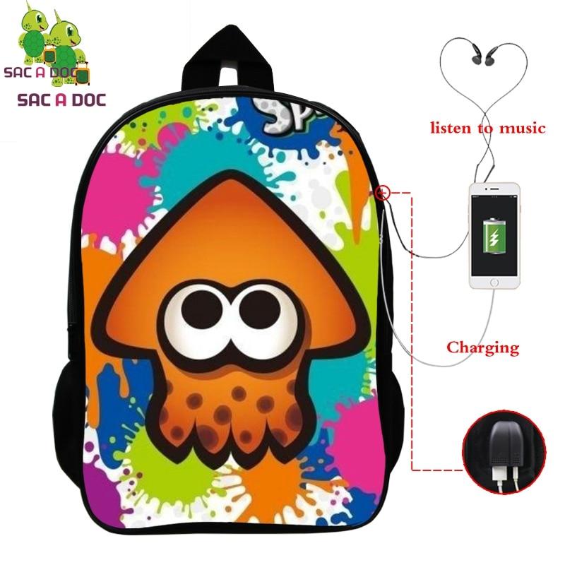 Splatoon 2 Game Backpack Women Men Multifunction USB Charging Laptop Backpack School Bags for Teenage Girls Boys Travel Rucksack