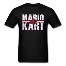 Mario Kart T-shirts 80s Game T Shirt Super Mario Tshirt Men Cotton Tops Vintage Letter Print Tees Black Clothes Hip Hop Funny