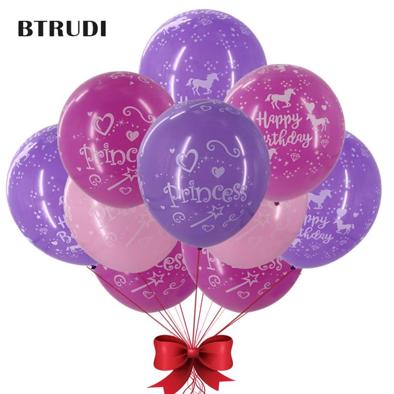 30pcs/50pcs lot princess balloon Unicorn party print balloons Theme baby shower Happy birthday decorated