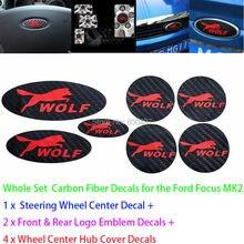 Neueste 3D Carbon Faser Vinyl Set Lenkrad Embleme Rad Hub Aufkleber Wolf Decasl für Ford Focus MK1 MK2 MK3 focus ST RS
