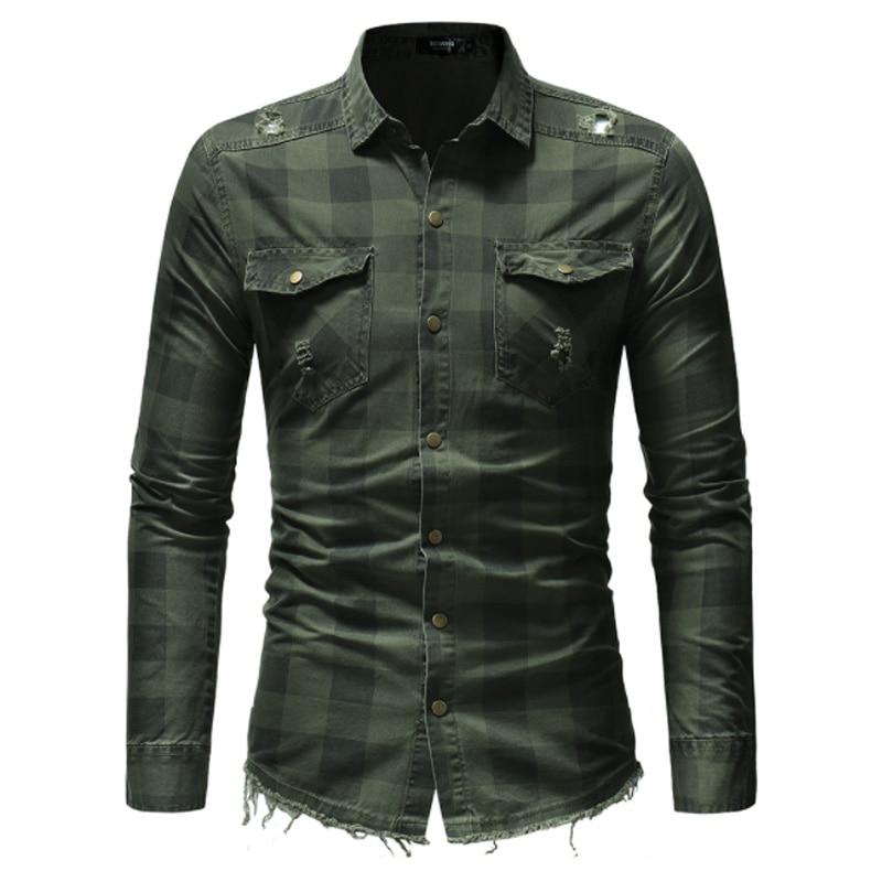 Camisa de los hombres de la marca de 2019 de alta calidad de manga larga Casual camisas ropa de mezclilla de corte Slim a cuadros ropa de Hombre Camisas Camisa Masculina