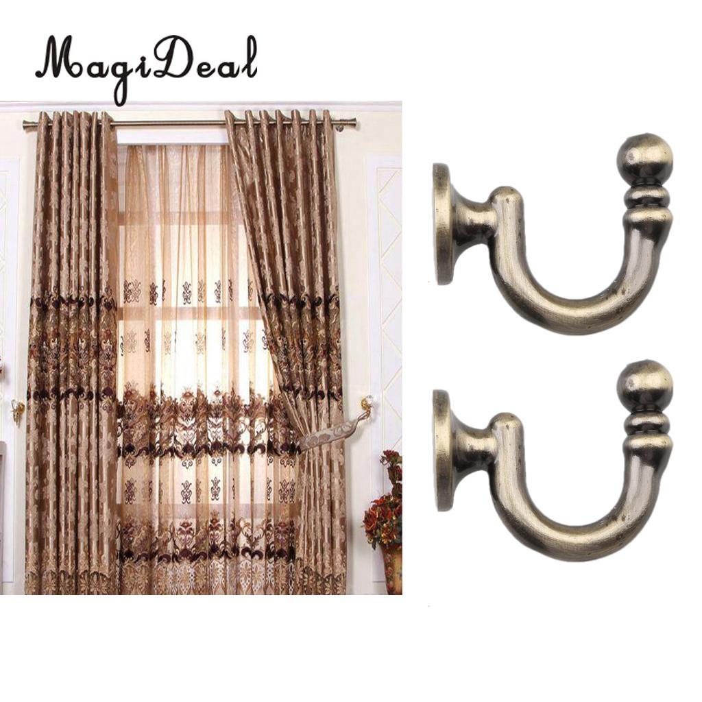 MagiDeal 2 Pieces Metal Curtain Tieback Hooks Holders with Screws for Wall Door Hangers hanging clothes Hat -Bronze