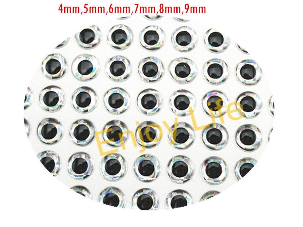 500 Uds. X 3mm/4mm/5mm/6mm/7mm/8mm/9mm ojos de señuelo de Pesca holográfico plateados 3D, atado de moscas, plantilla, cebo anzuelos fabricación