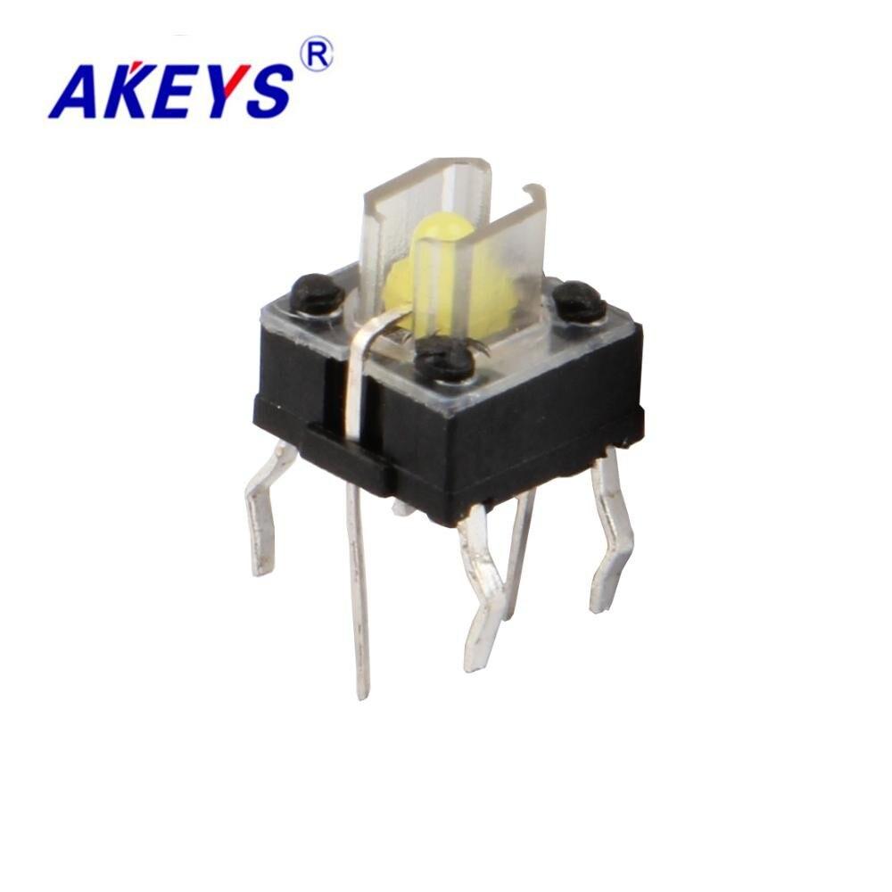 20 piezas TS-H001 6*6 iluminado tacto interruptor DIP 4 pin Tipo vertical, con interruptor de botón de empuje TS-LS-001