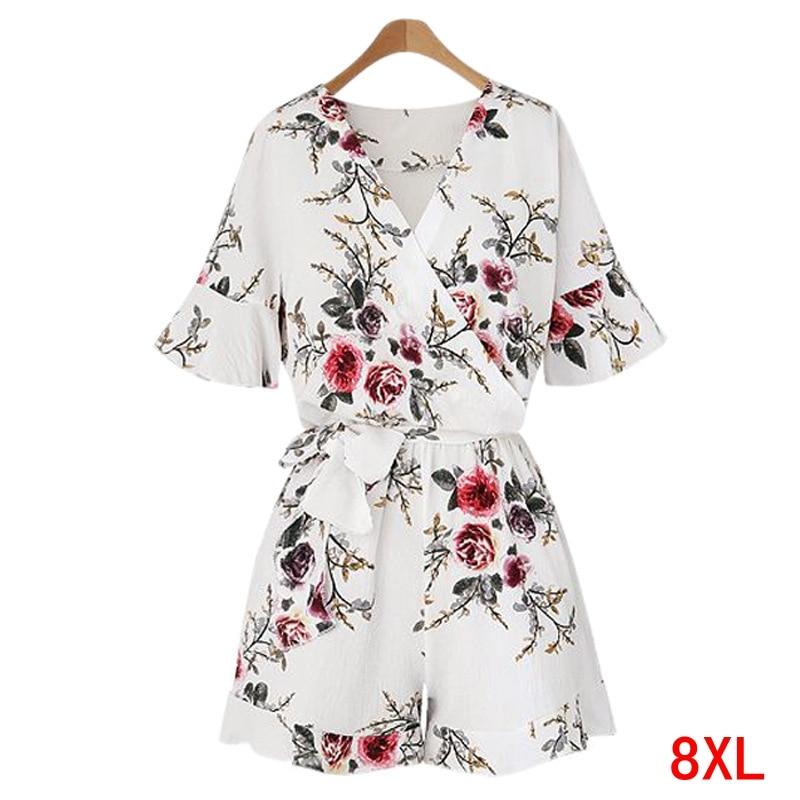 Large size women's jumpsuit plus size 5XL 6XL 7XL 8XL summer V-neck short-sleeved casual loose beach white chiffon jumpsuit