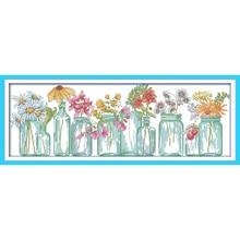 Vases à fleurs éternels en coton   kits point de croix écologiques 11CT 14CT en estampillé, décorations de nouvel an, cadeau bricolage pour maison