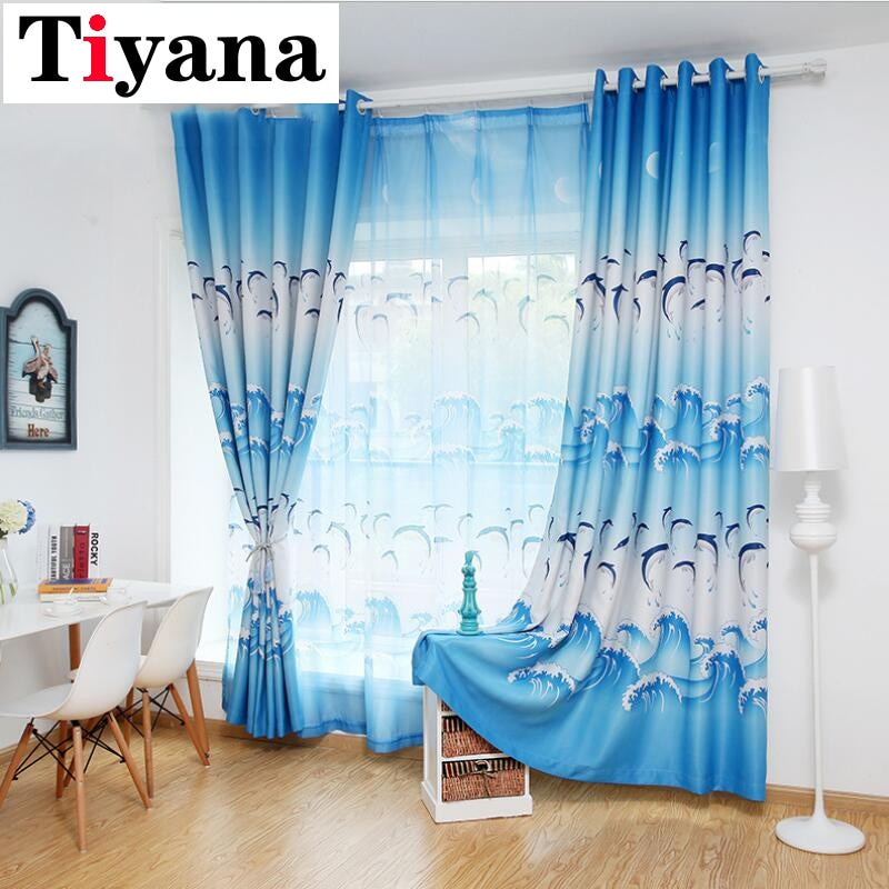 Tiyana tela de dibujos animados azul delfín Blackout púrpura tul Curtais para niños habitación niños dormitorio cortinas de dibujos animados ZH018X