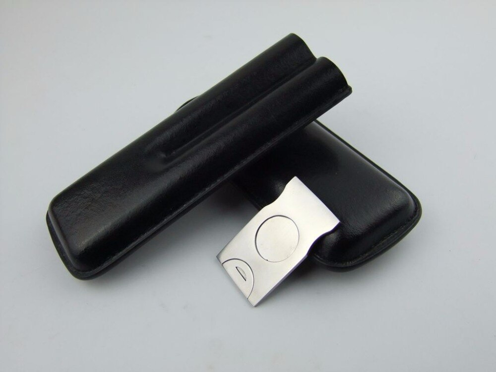 NEW black Leather cigar 2 Tubes Cigarette Cigar Case Holder Travel Humidor pouch with stainless Steel Metal Cigar Cutter scissor