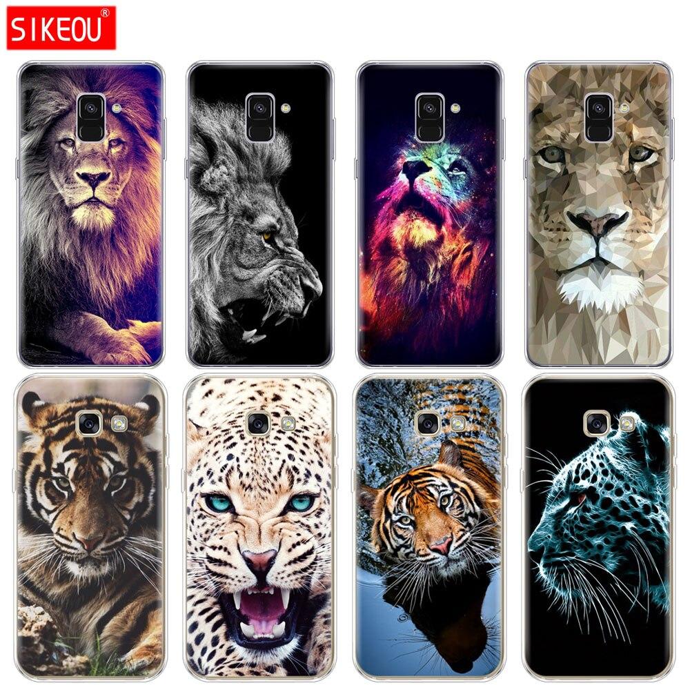 Silikon telefon fall abdeckung für Samsung Galaxy A6 A8 2018 A3 A310 A5 A510 A7 2016 2017 tiger lion Leopard