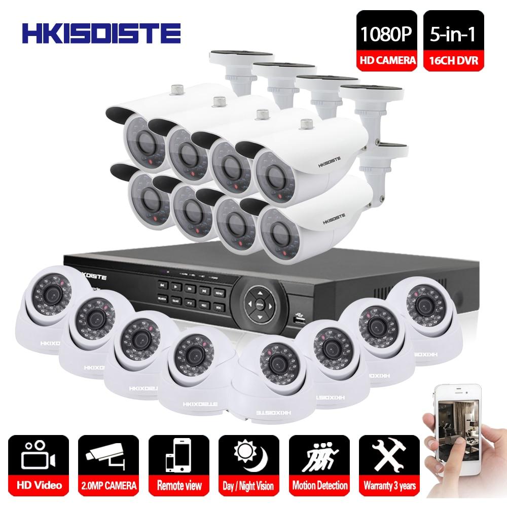 16CH AHD DVR 16Pcs 2.0MP 1080P Camera Security Surveillance CCTV System Outdoor Waterproof IR Night Vision HD Kit 16CH AHD 1080P