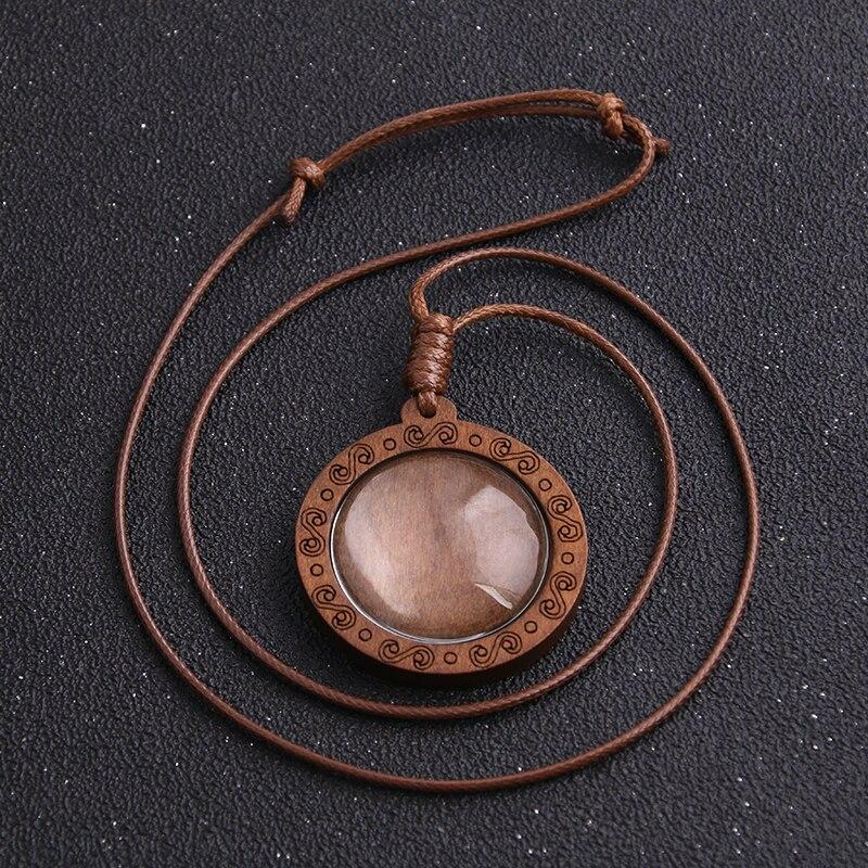 Bandejas base do pendente do cameo do tamanho interno de madeira do cabochão de 1 pces 30mm com cabo de couro para fazer a jóia