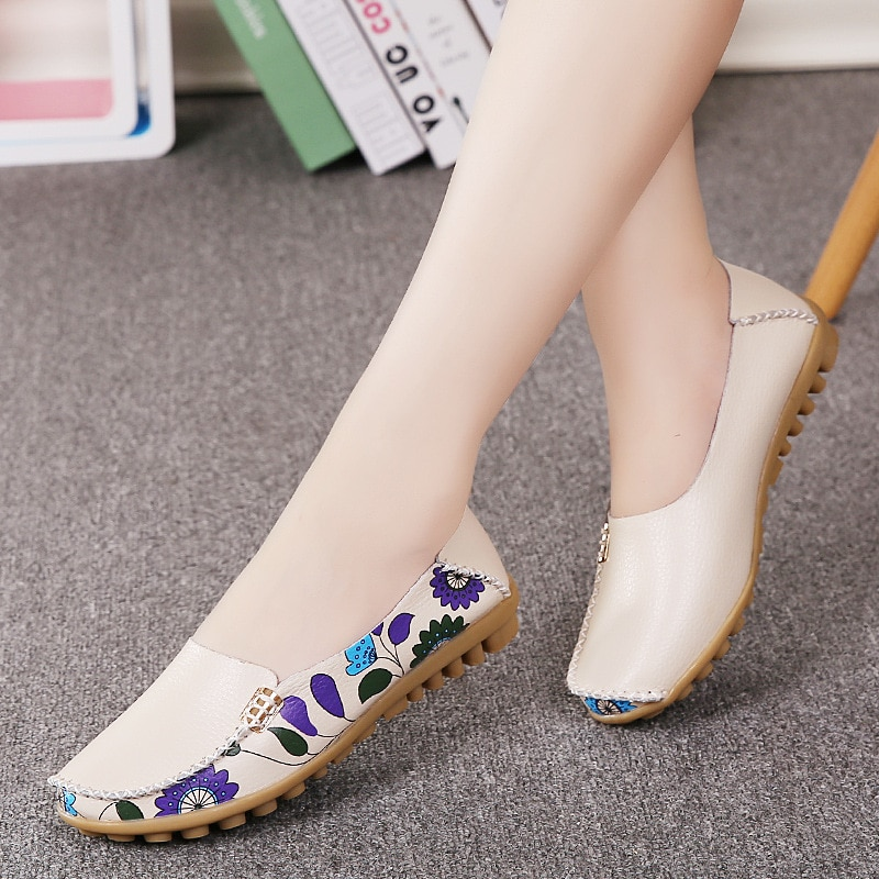 2019 Spring women flats genuine leather shoes slip on ballet print moccasins loafers