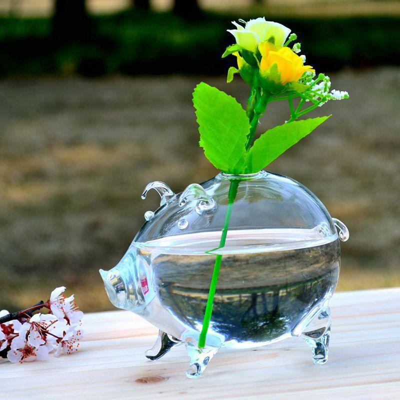 O.RoseLif Pig-jarrón de Cristal creativo, articulados de Cristal, decoración, artículos de decoración,...