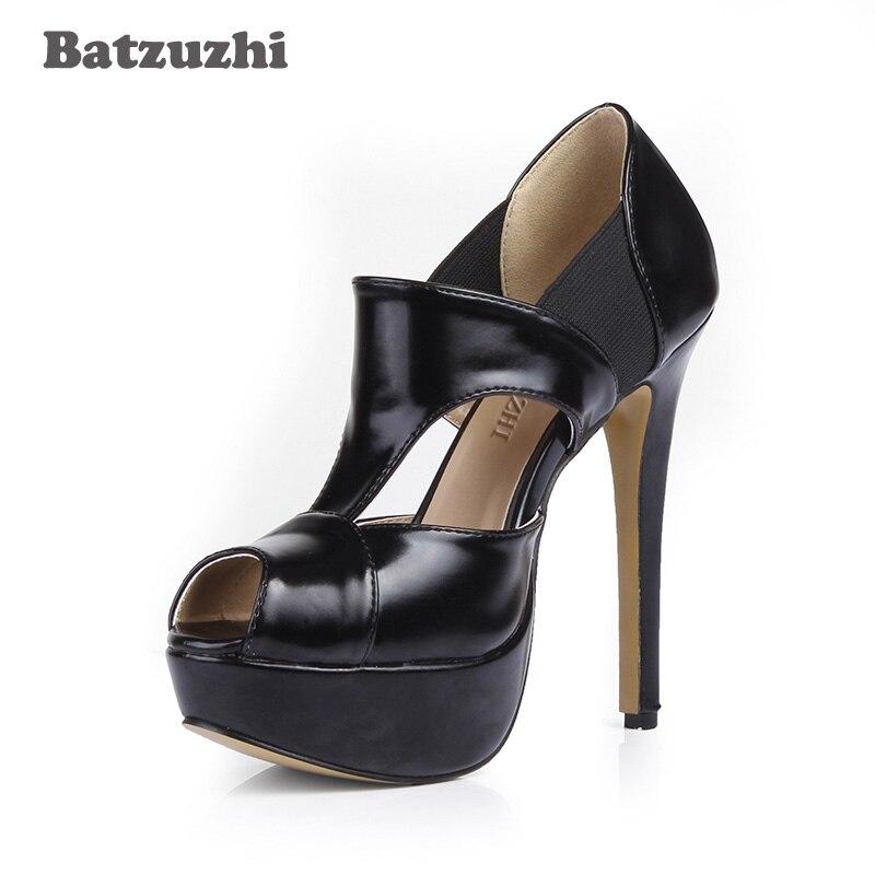 Batzuzhi Sexy Women Shoes Black Leather Platform Pump Shoes Open Toe Stiletto Heels Pump Sapato Feminino for Party, Size 35-43