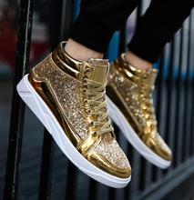 2019 homens sapatos planos tênis tamanho grande 39-45 sapatos masculinos calçados preto ouro alto tênis para homem hip-hop sapatos deportivas