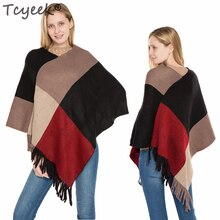 Tcyeek Winter Warm Tassel Sweater Poncho Women Knitted Batwing Cape Cloke All Match Plaid Pull Femme Jumper Autumn Ponchos LW890